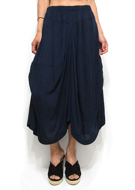 Pants193 Side Ruche Gaucho Pants/Navy