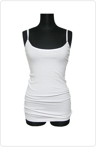Tops123 Basic Adjustable Long Cami/White